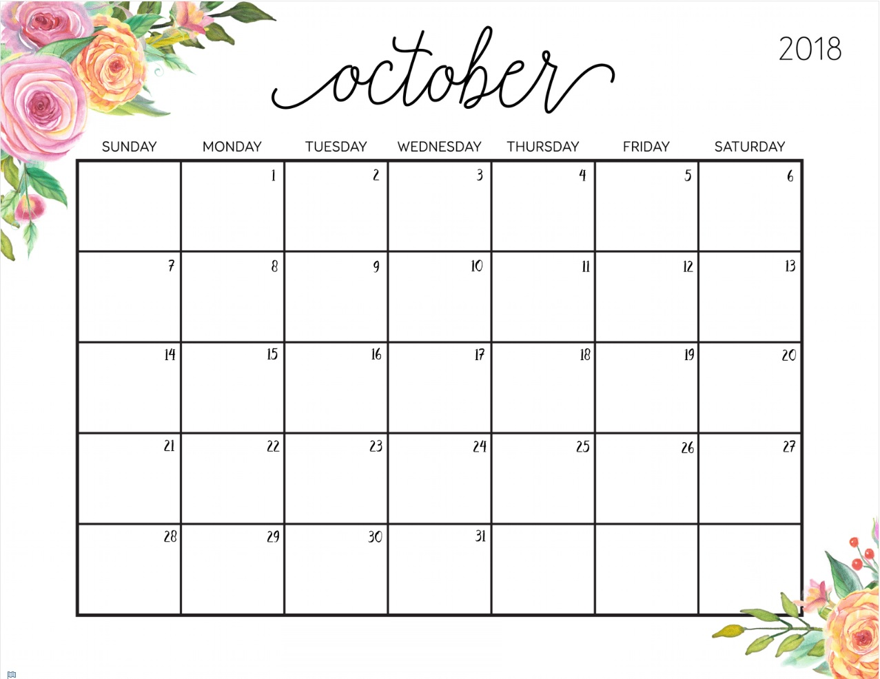 Printable Calendar October 2018 Floral Template