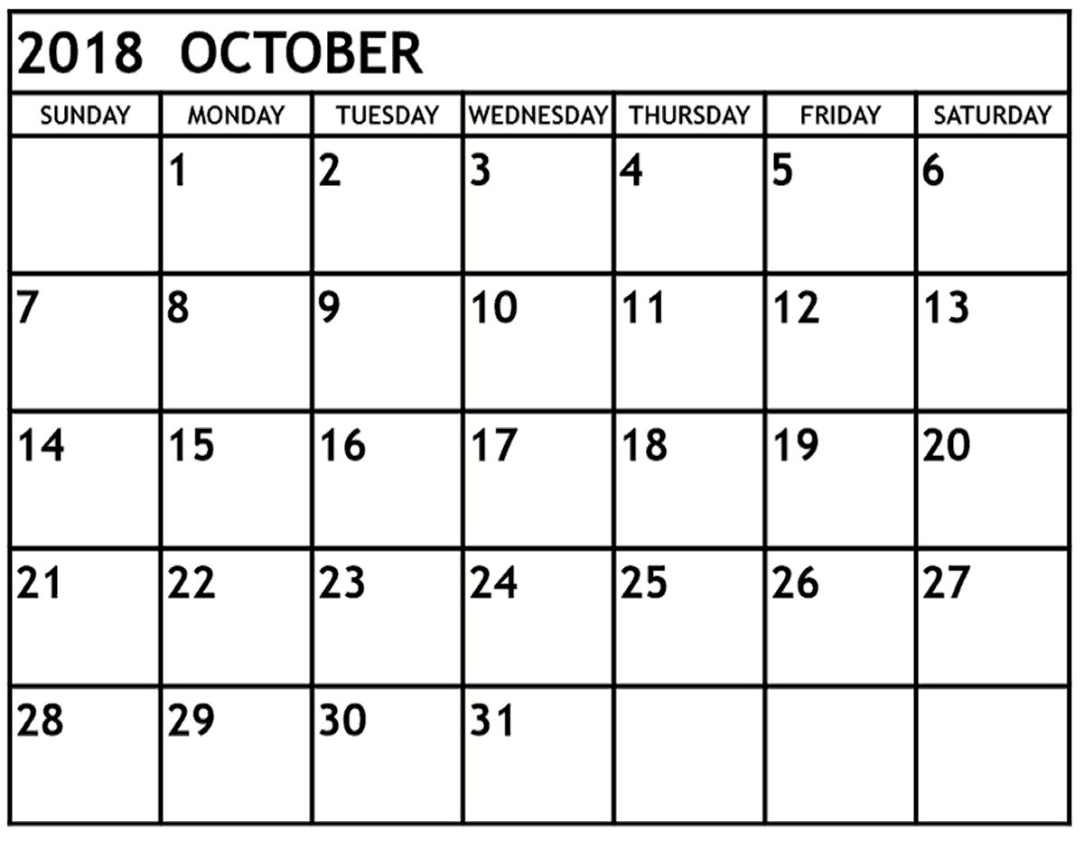 Printable Calendar October 2018 Free Download