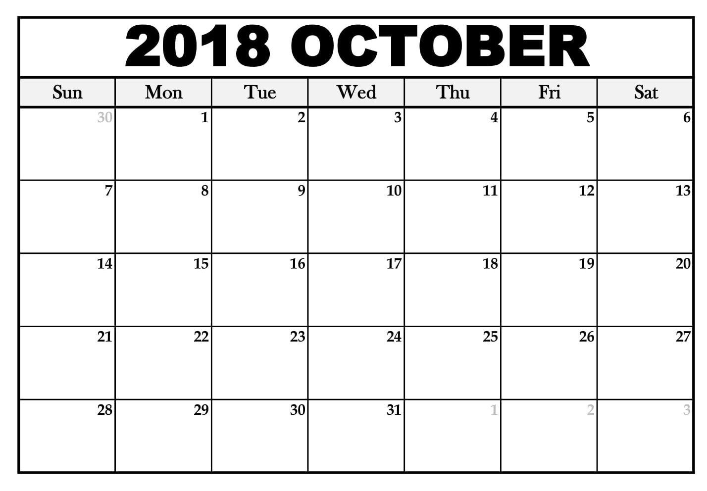 Printable Calendar October 2018 In Ms-Word Format