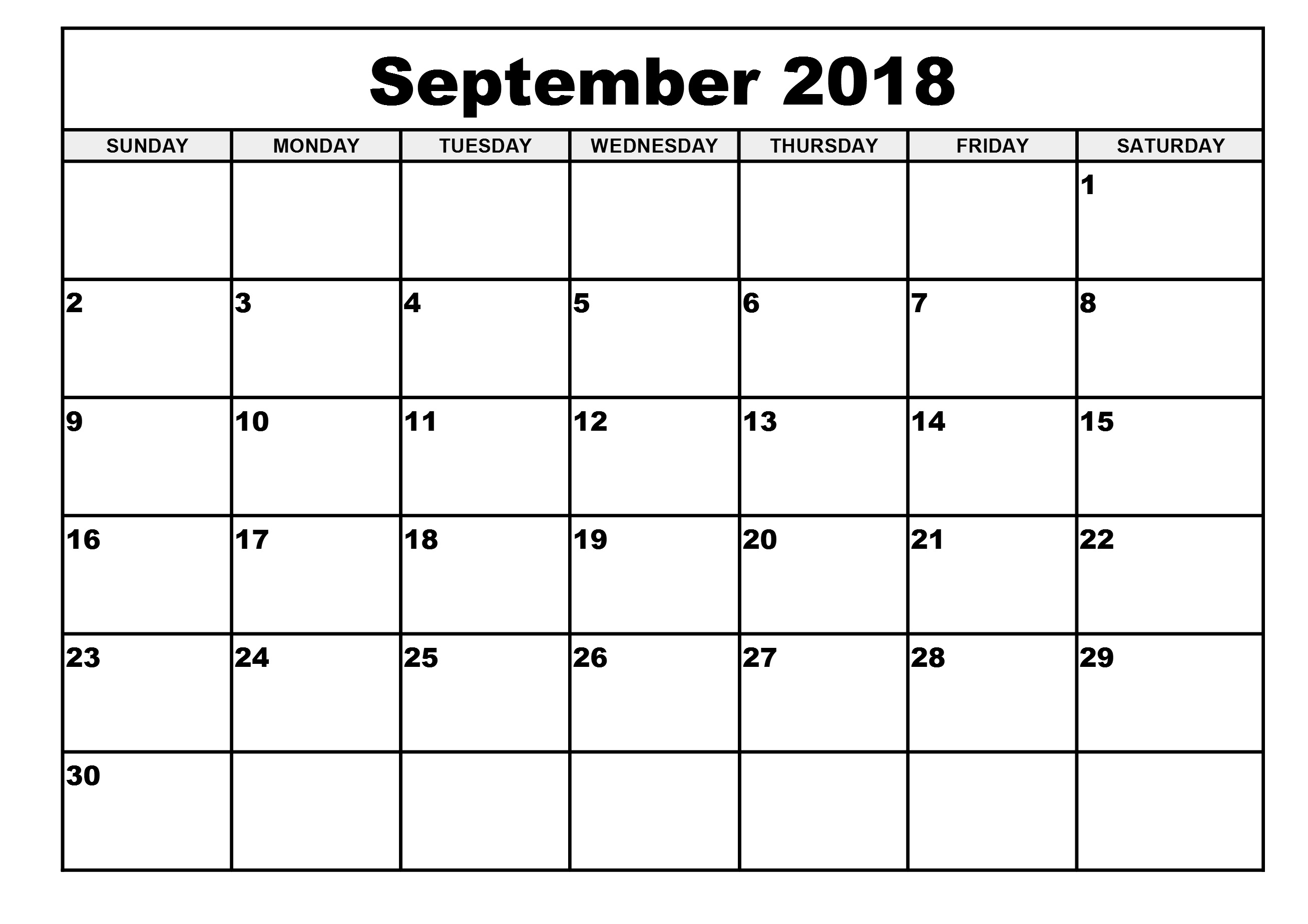 Printable Calendar September 2018 Decorative