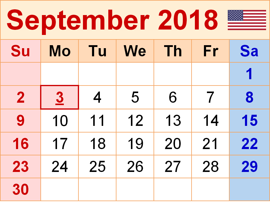 Printable Calendar September 2018 Full Page