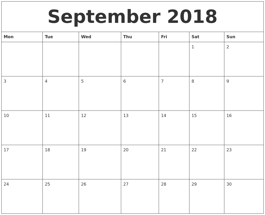 Printable Calendar September 2018 Monday Start