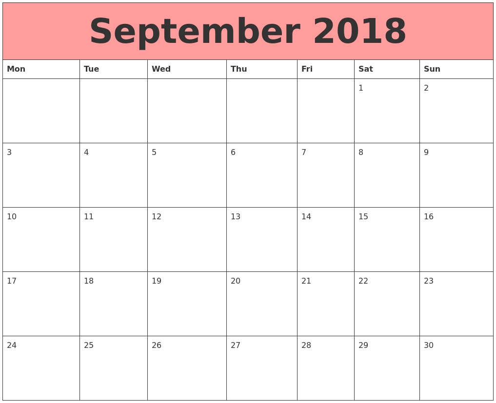 Printable Calendar September 2018 Template
