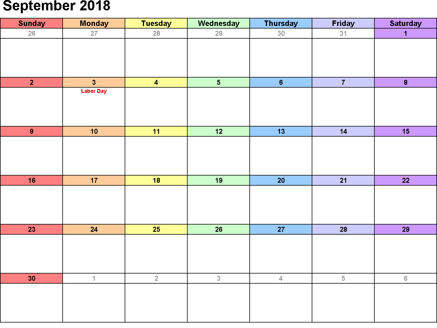 Printable Calendar September 2018 Vertical Template