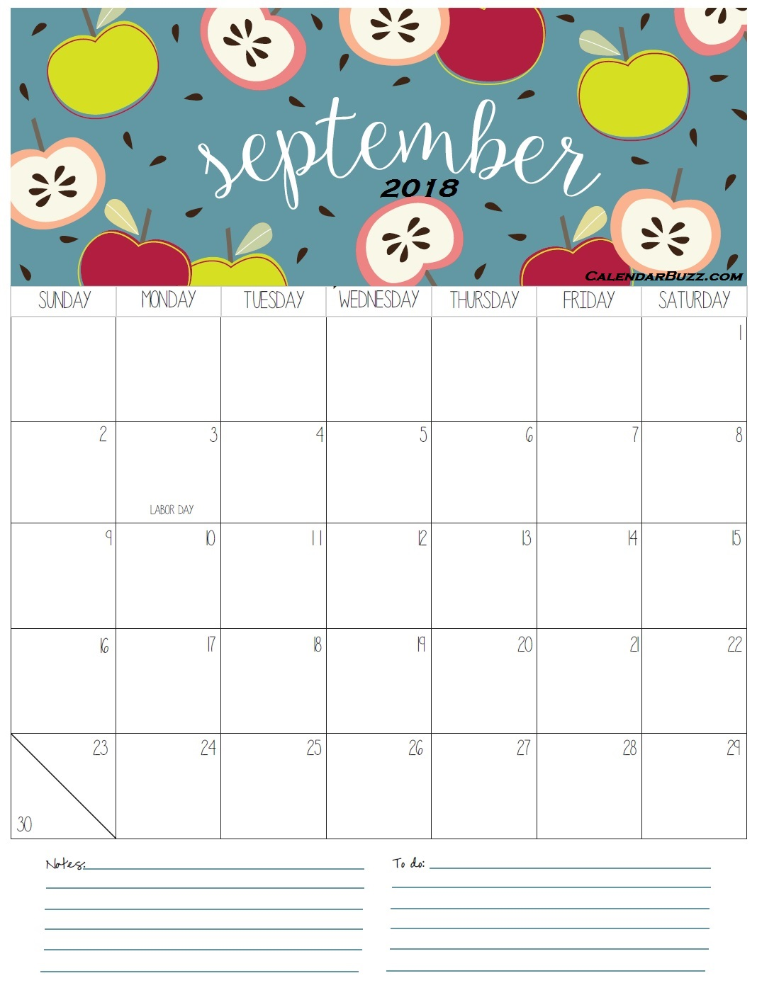 Printable Calendar September 2018 With Holidays