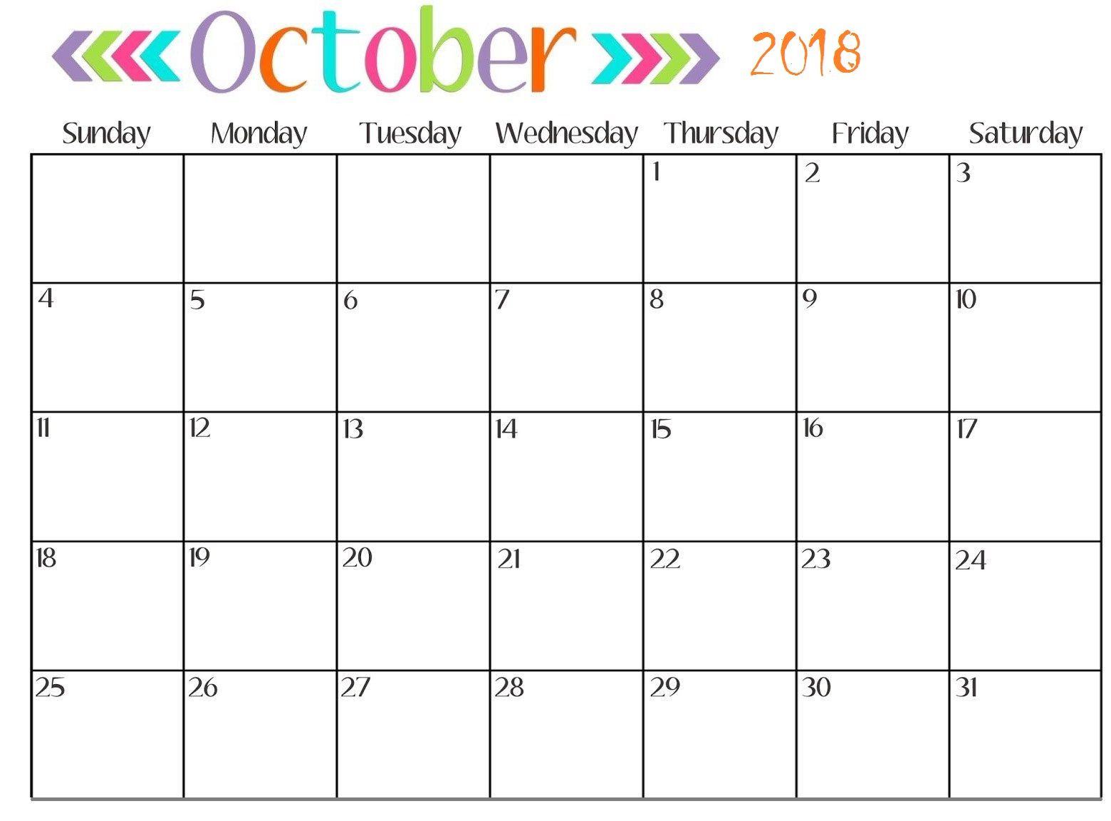 graphic about Free Printable October Calendar identified as Printable Oct 2018 Calendar Total Website page - Down load Free of charge