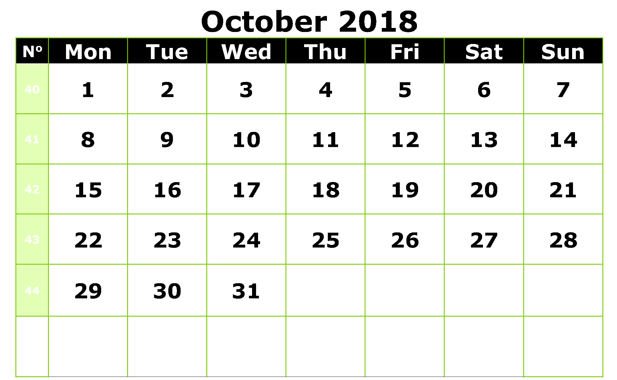 Printable October 2018 Calendar Word