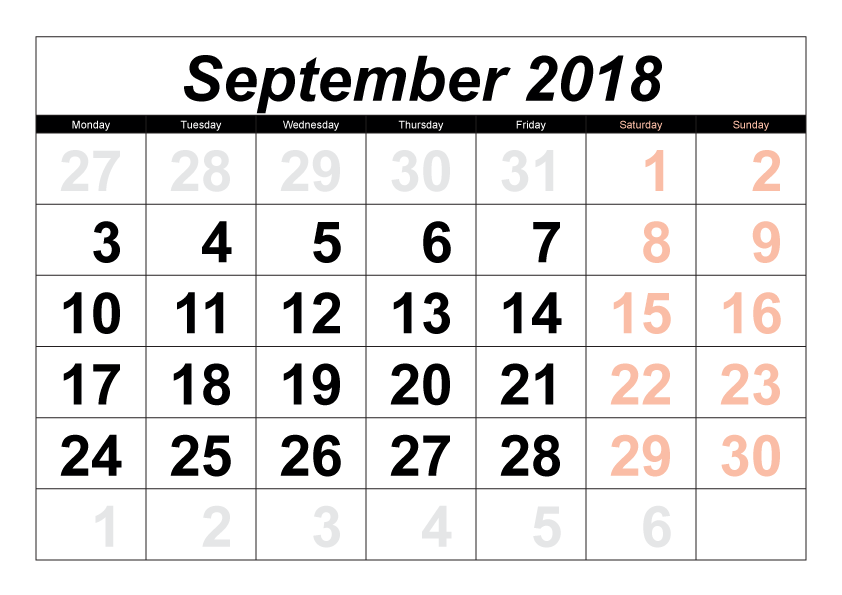 Printable September 2018 Calendar Amazing