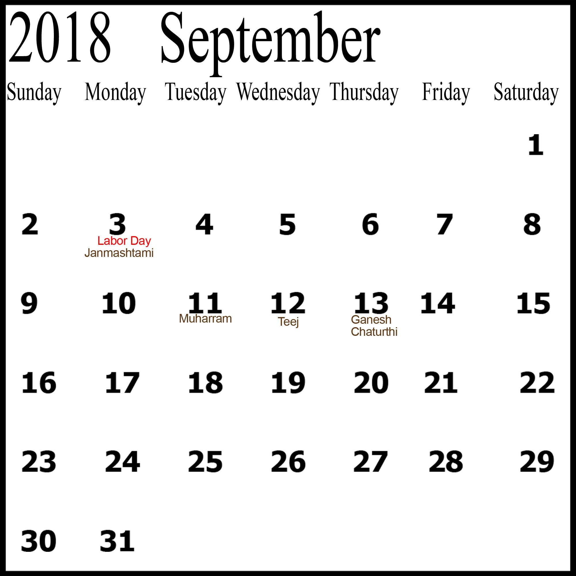 Printable September 2018 Calendar Business Template