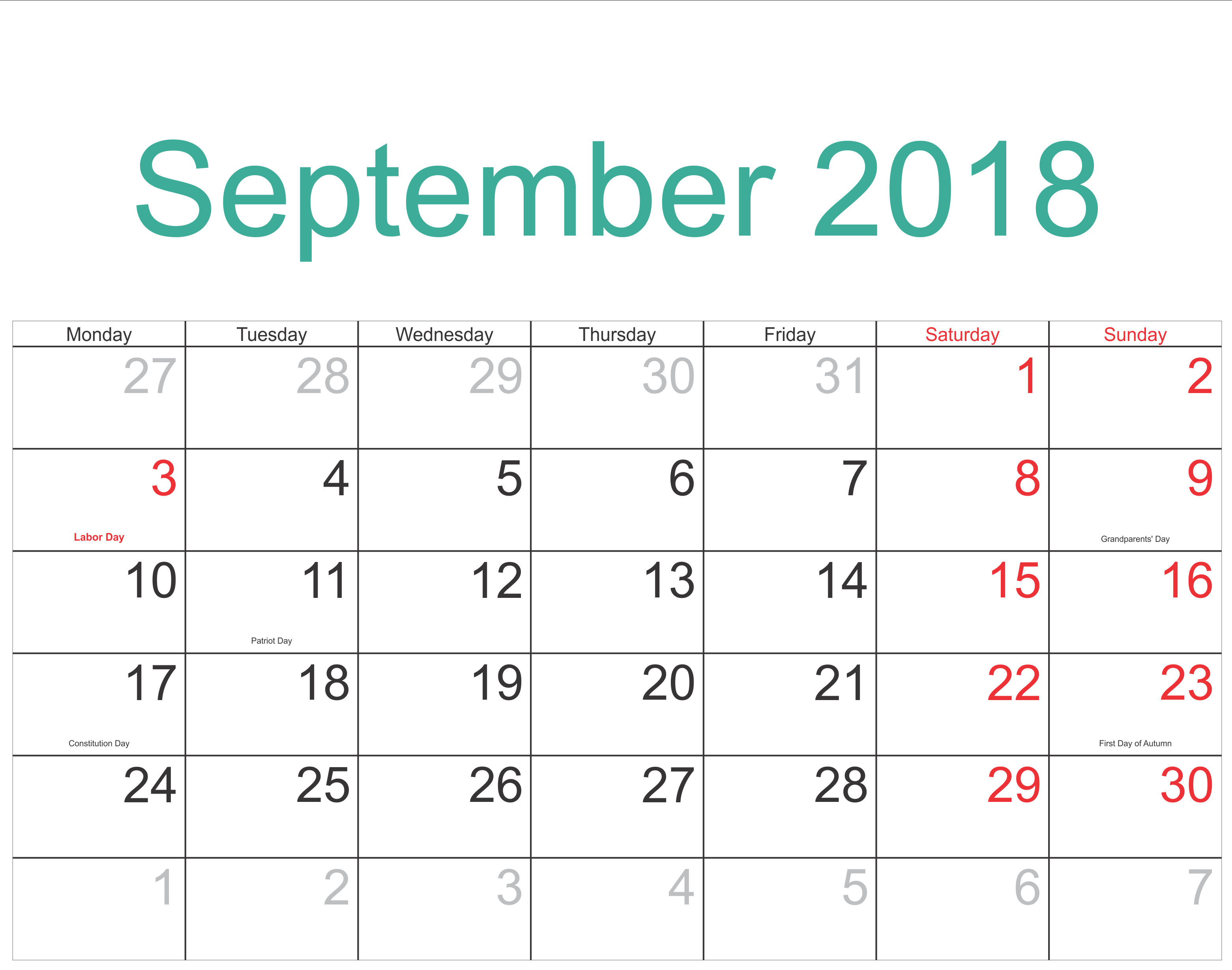 Printable September 2018 Calendar Decorative