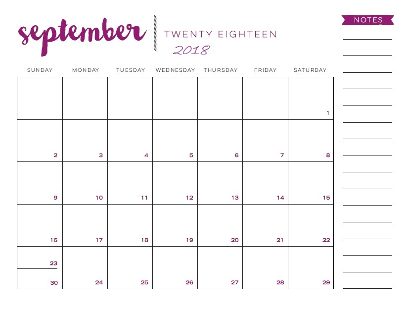 Printable September 2018 Calendar For Facebook