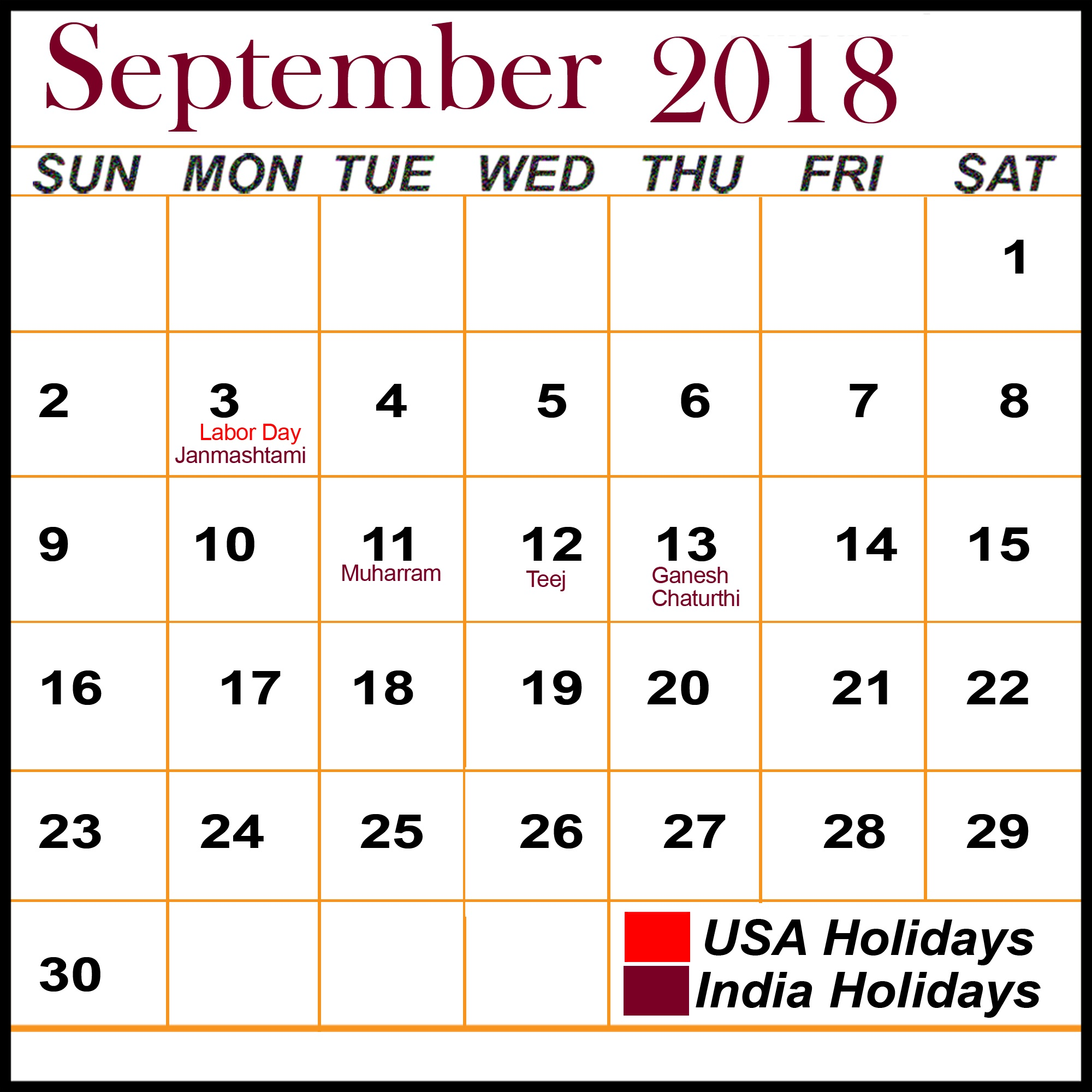 Printable September 2018 Calendar Online Design