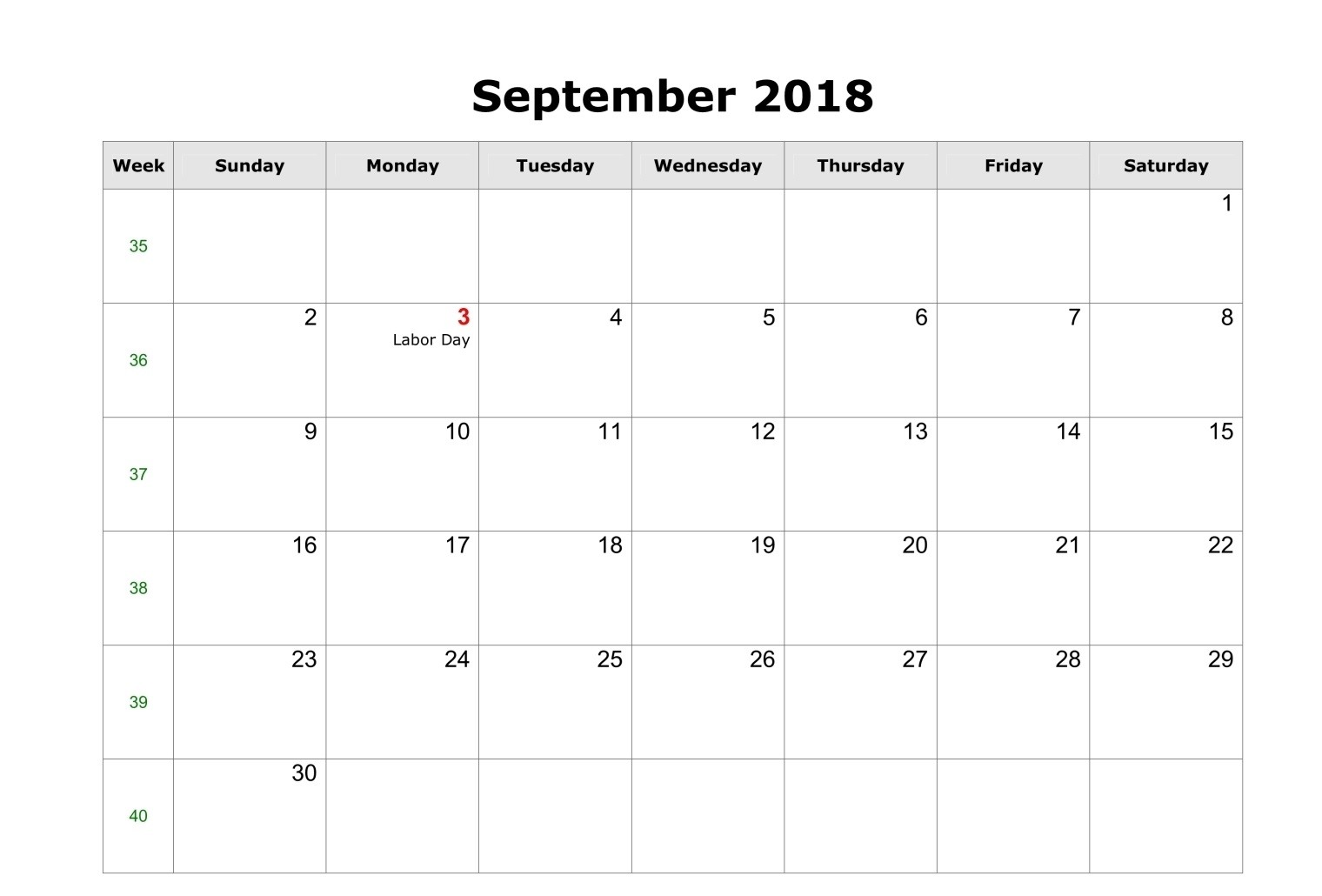 Printable September 2018 Calendar Vertical Format