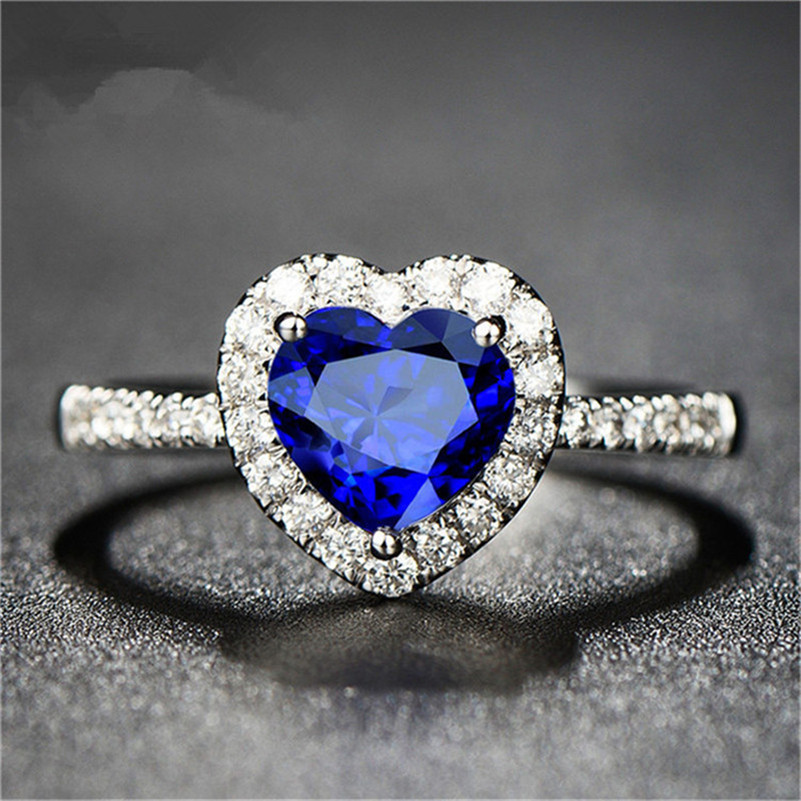 Sapphire Diamond Heart September Birthstone Ring