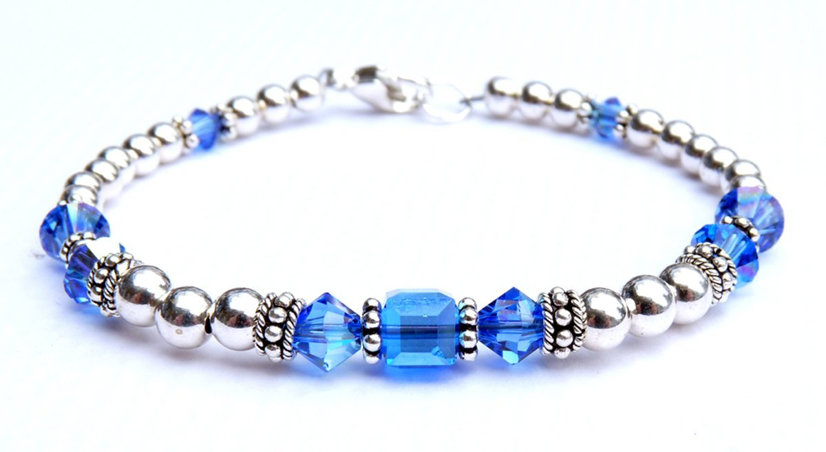 Sapphire September Birthstone Silver Crystal Beaded Bracelet