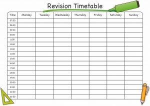 School Time Table Template For Revision