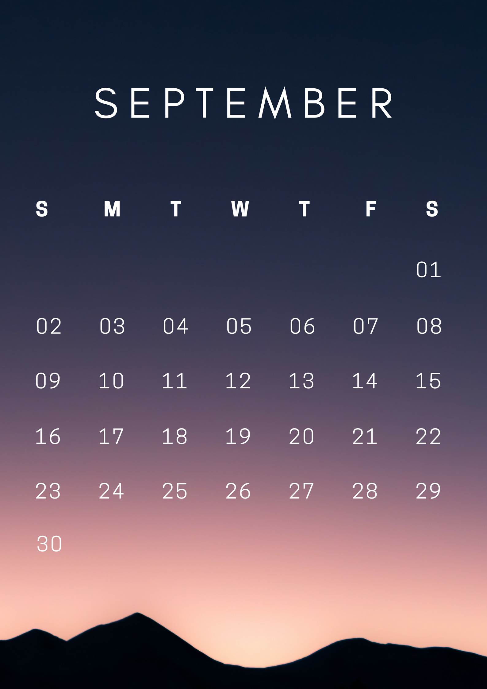 September 2018 HD Mobile Calendar