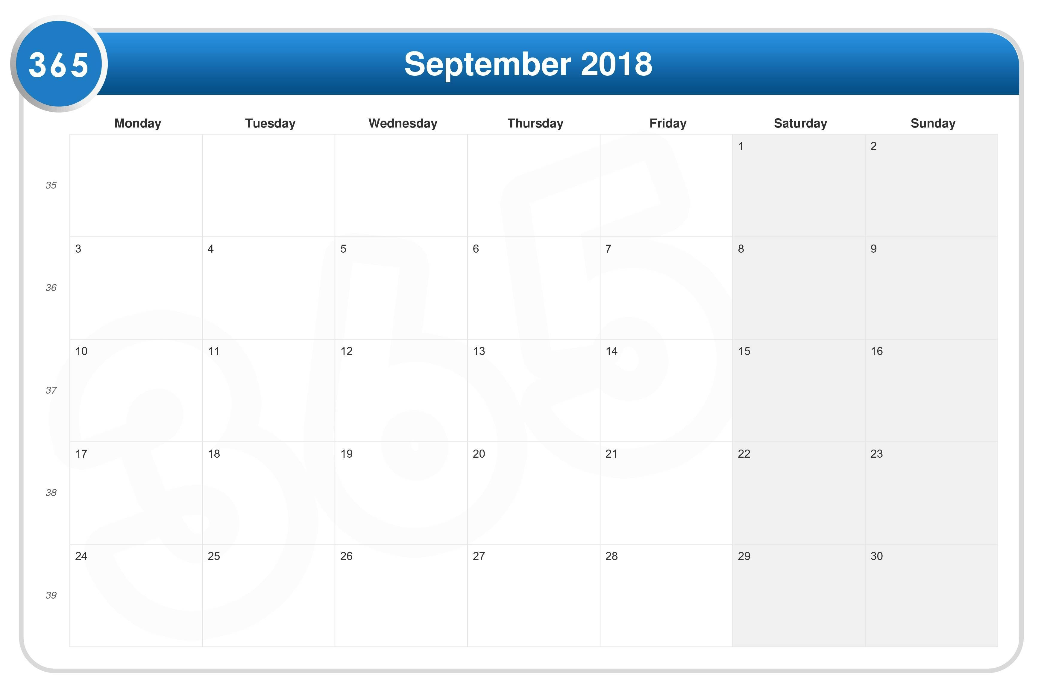 September 2018 Moon Calendar Cycle