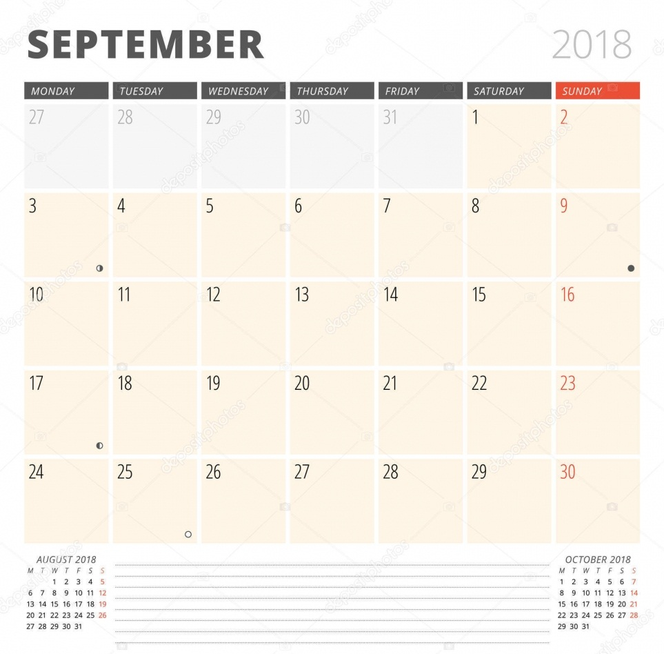 September 2018 Moon Calendar Download