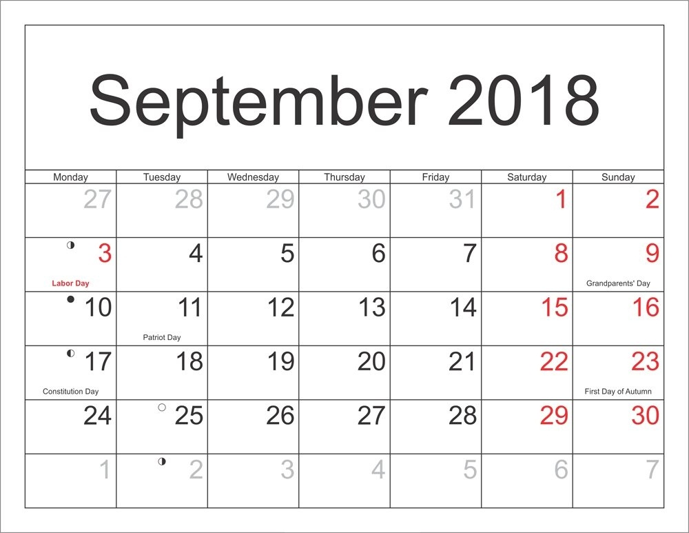 September 2018 Moon Calendar Table