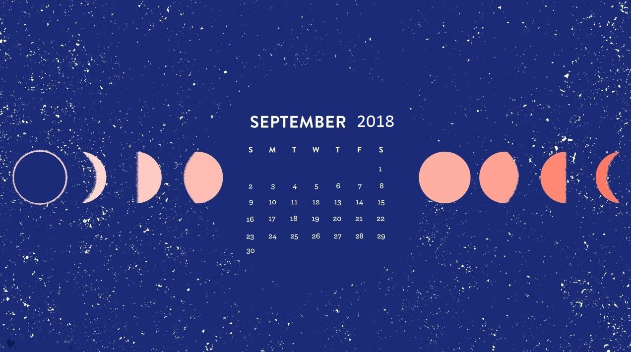 September 2018 Moon Calendar Template