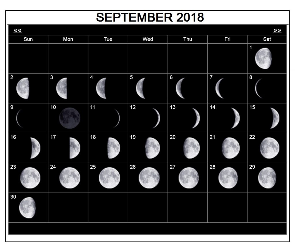 September 2018 Moon Calendar With holidays
