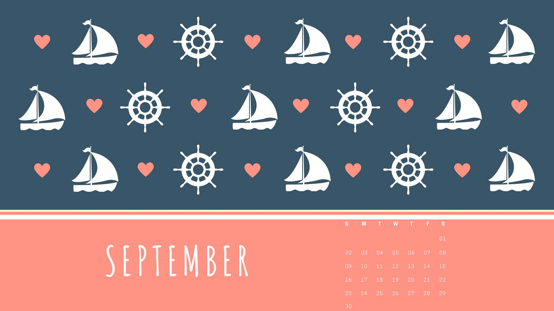 September 2018 PC Calendar Wallpaper