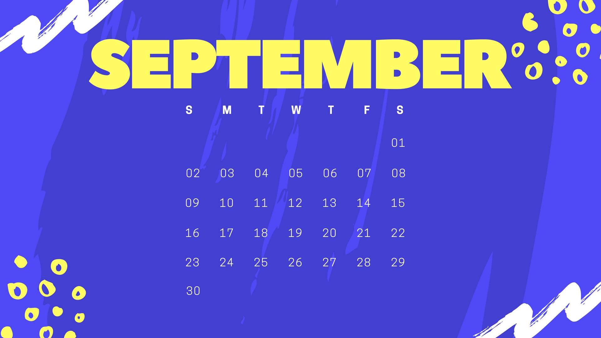 September 2018 Screen Calendar