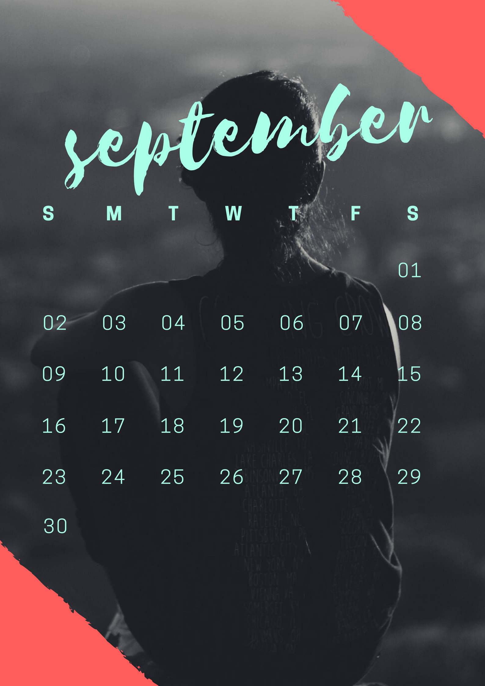 September 2018 Screensaver Wallpaper Calendar