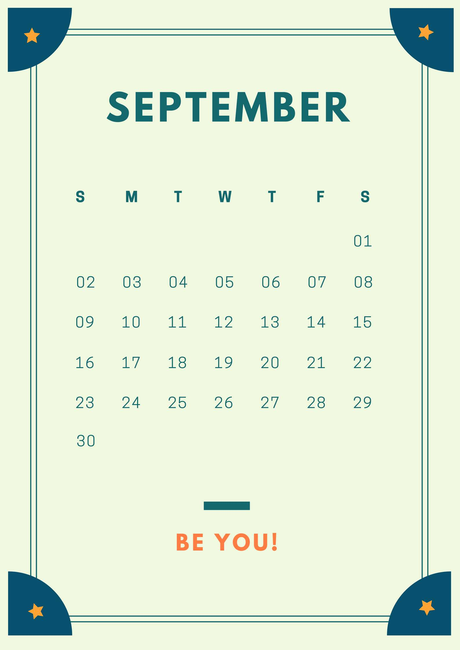 September 2018 Simple iPhone Calendar