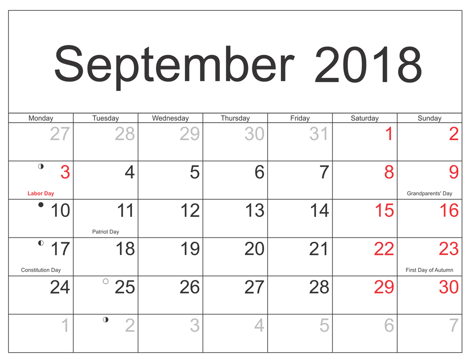 September 2018 Template With Holidays