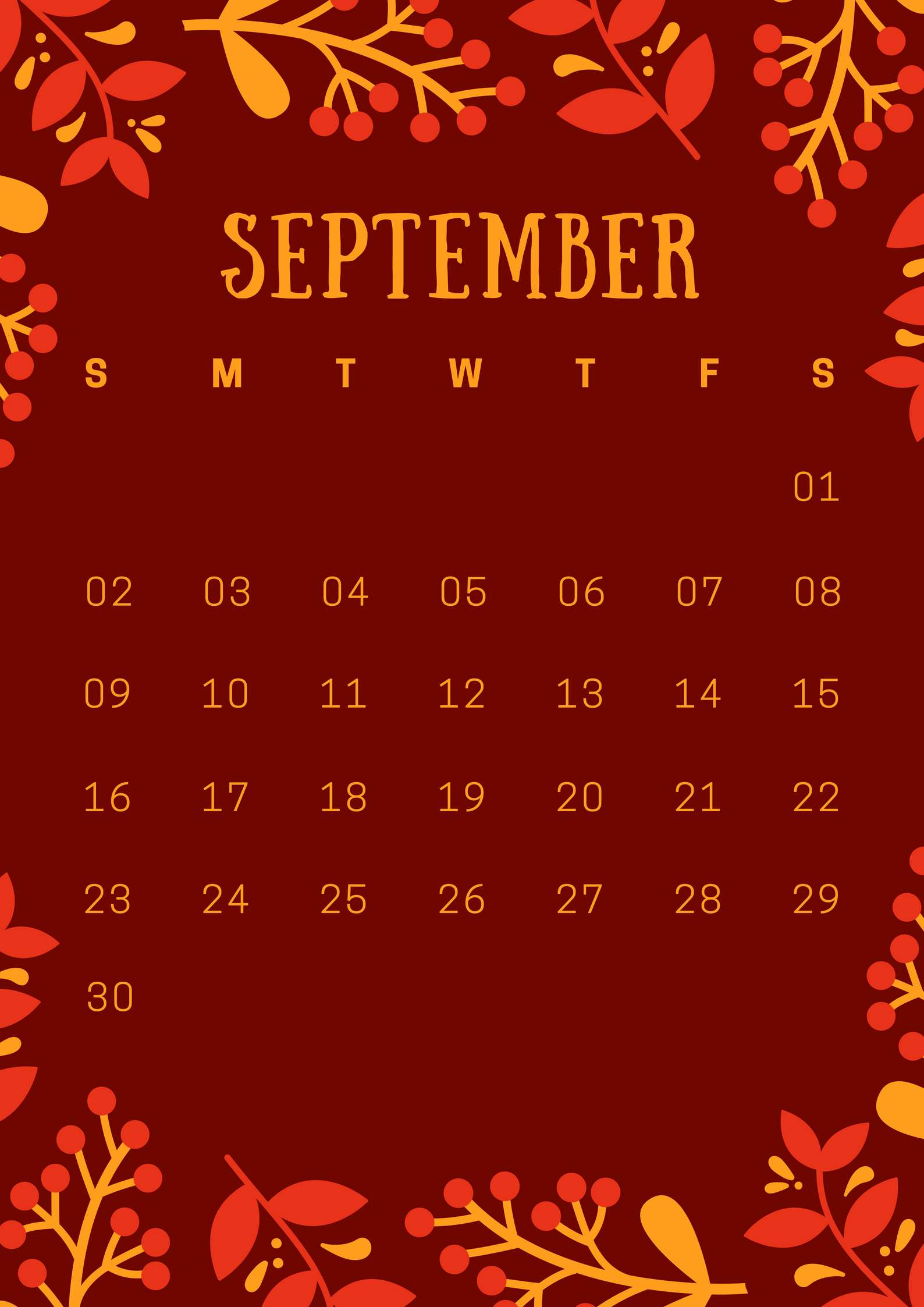 September 2018 iPhone Calendar Wallpaper