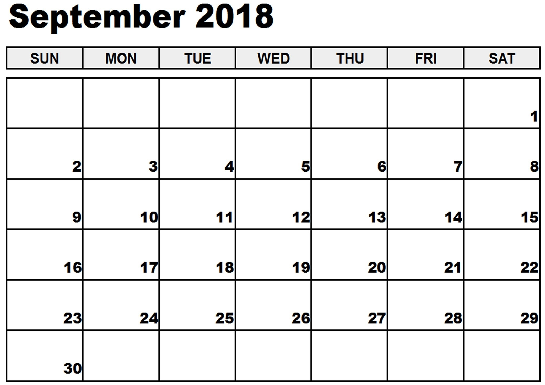 September Calendar 2018 Create Template
