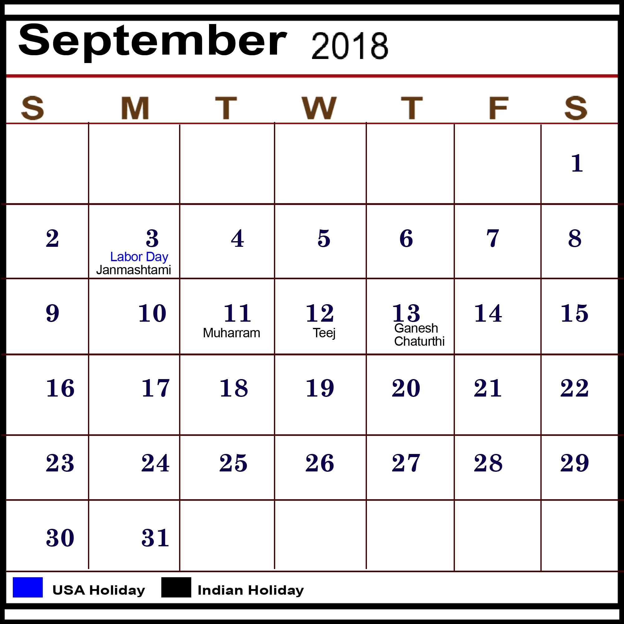 September Calendar 2018 Day of Week