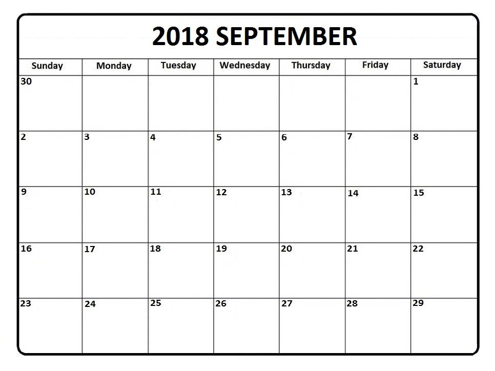 September Calendar 2018 Template Holidays Notes