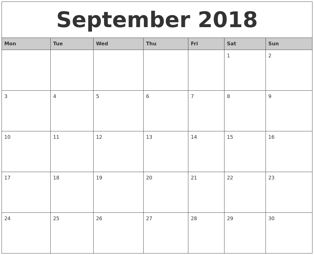 September Calendar 2018 Template Worksheet