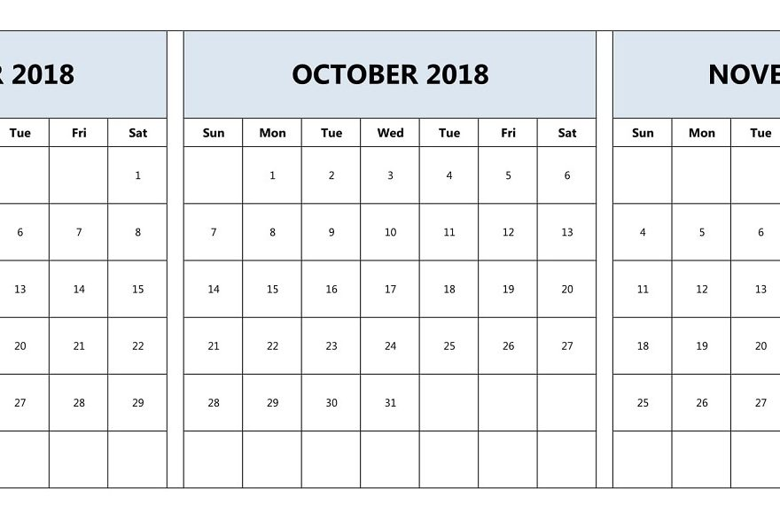 September October November 2018 Calendar Printable