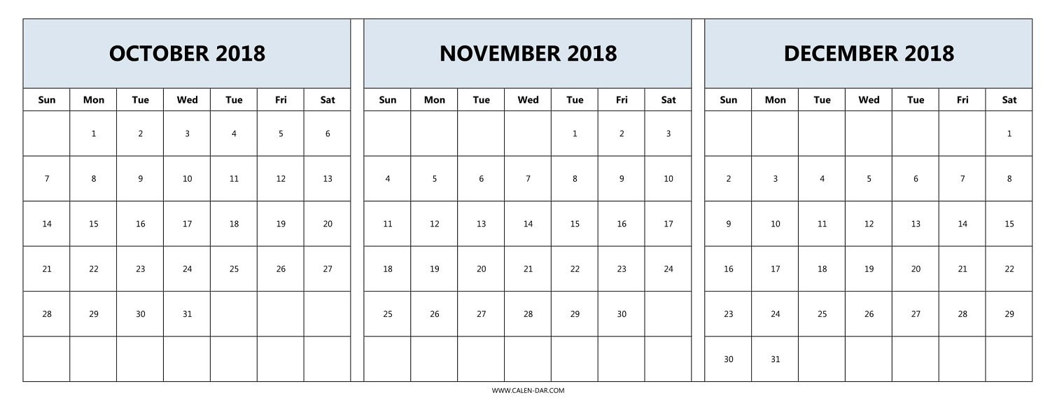 picture about Three Month Calendar Printable called September Oct November 2018 Calendar Within just PDF Phrase Excel