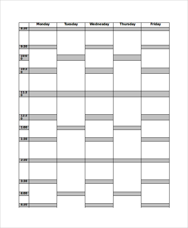 Time Table Template PDF Print Out