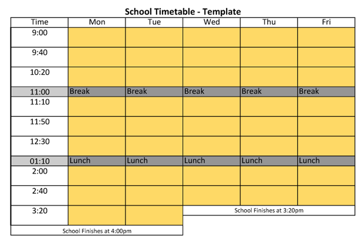 Time Table Work Book Chart Template