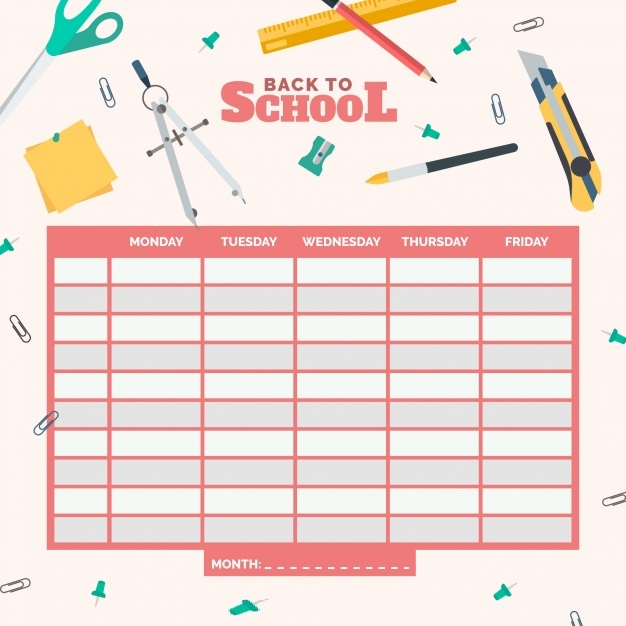 Weekly Class Time Table Template