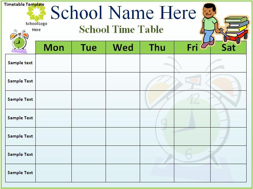 Weekly Time Table Document Template