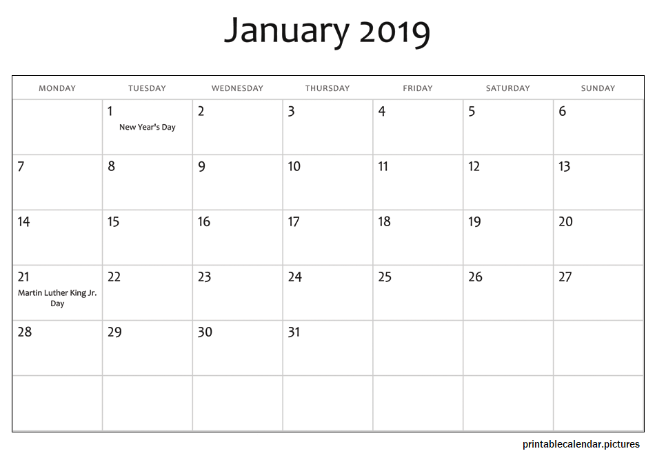 2019 January Calendar With Holidays