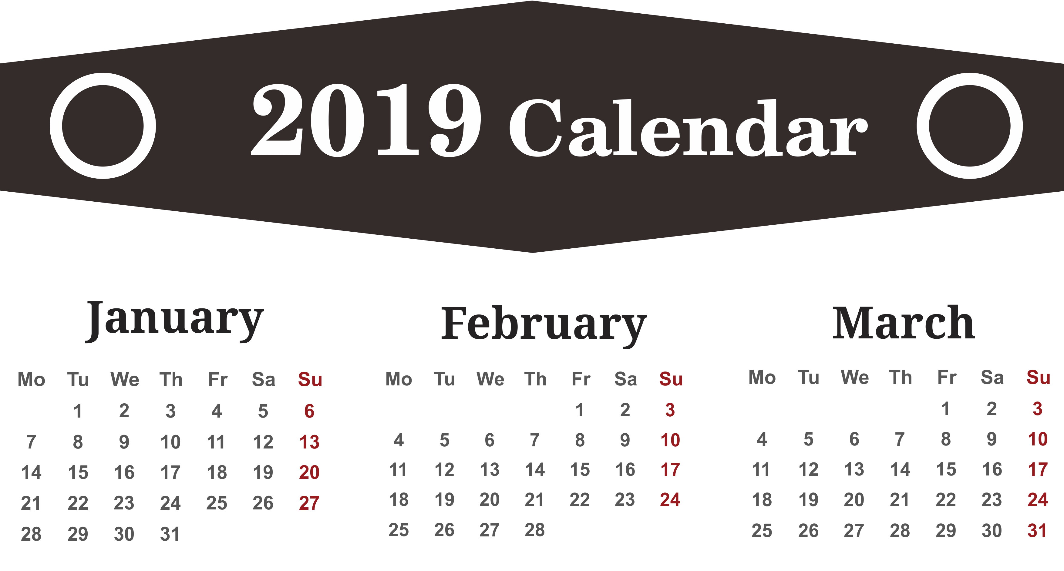 3 Month January February March 2019 Calendar Template