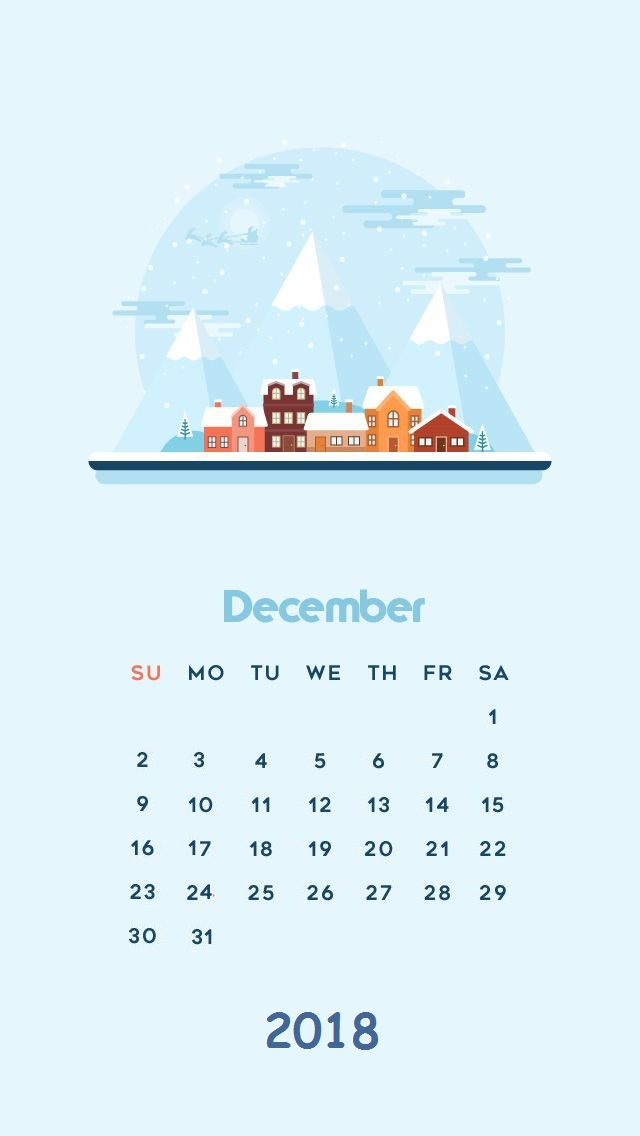 Beautiful December 2018 iPhone Calendar
