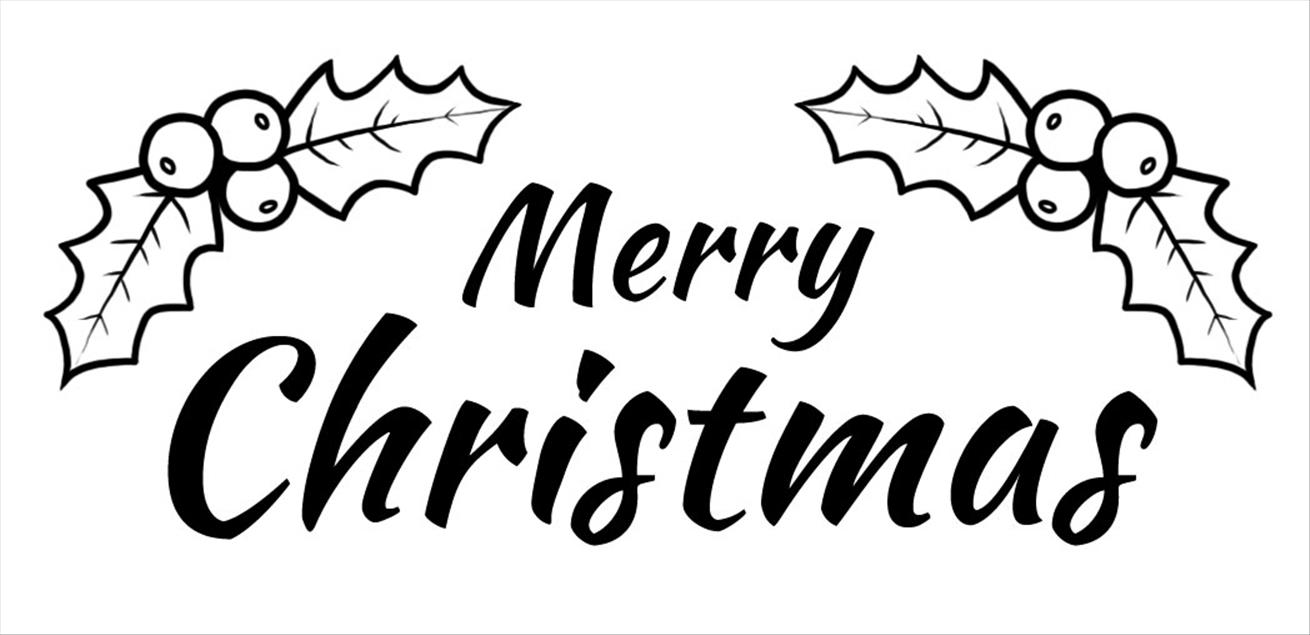 Black and White Merry Christmas Clipart