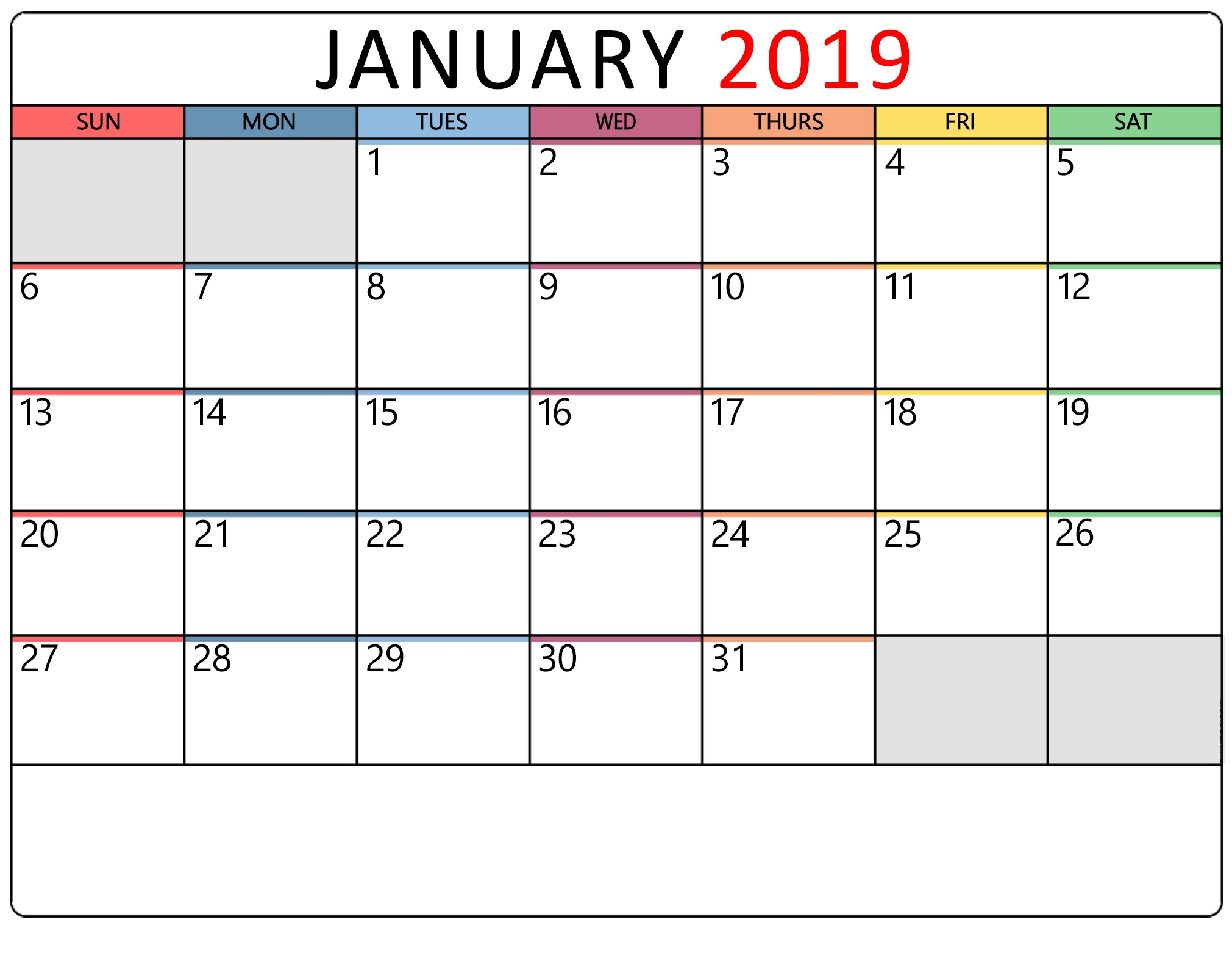 January 2019 Google Calendar With Printable Holidays