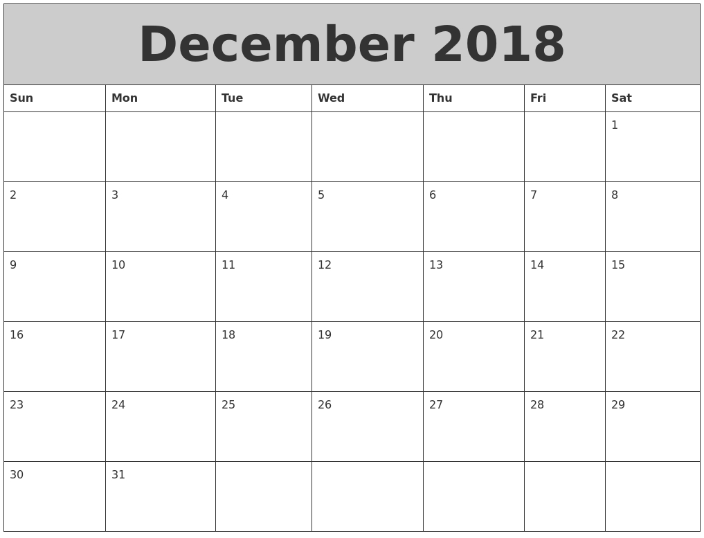 Calendar 2018 December Monthly HD Planner