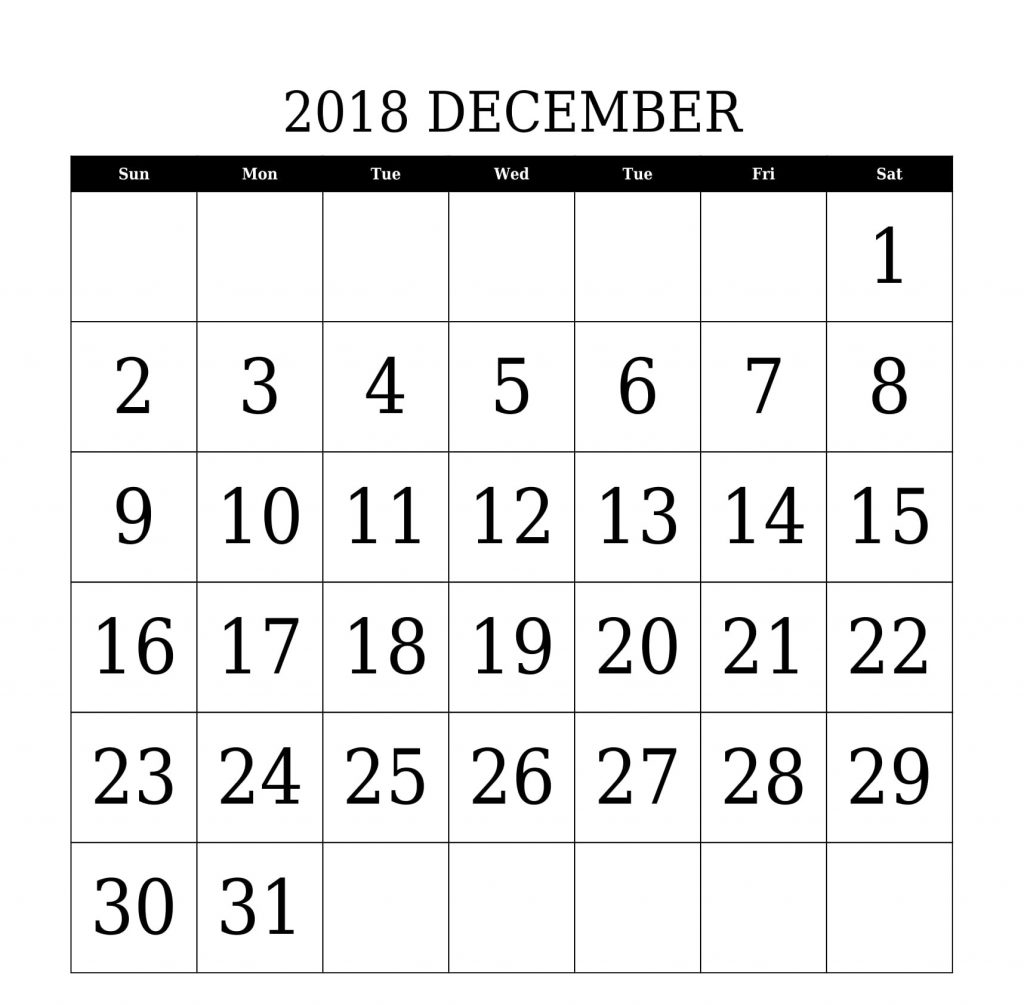 Calendar 2018 December PDF Document Template