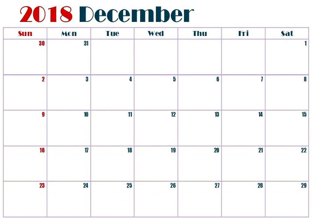 Calendar 2018 December White Table